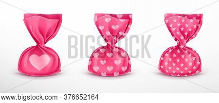 Realistic Vector Chocolate Truffle In Pink Wrapper With Different Patterns, Isolated On White Backgr