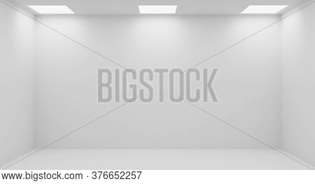 Wall Of Empty White Room With White Wall, Floor And Ceiling With Square Embedded Ceiling Lamps And H