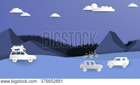 Vector Illustration Of Off Road Vehicle Car Camping With Nature Scene, Paper Cut Style