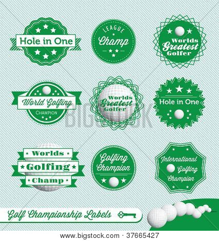 Vector Set: Vintage Golfing Labels and Stickers
