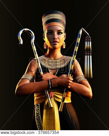 The Beautiful Last Egyptian Princess, Queen, Pharaoh, Cleopatra, Holding Her Signs Of Power, 3d Rend