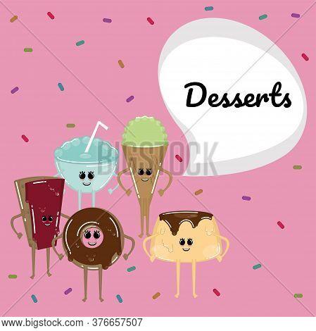 Desserts Cartoon Illiustration. Chocolate Pie, Donut, Ice Cream Cone And Flan - Vector