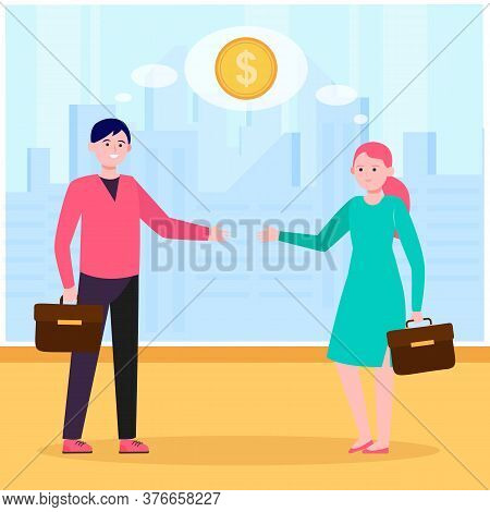 Smiling Business Partners Thinking About Financial Deal. Handshake, Contract, Coin Flat Vector Illus