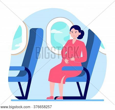 Happy Pregnant Woman Travelling By Plane. Seat, Flight, Trip Flat Vector Illustration. Motherhood An