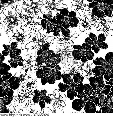 Seamless Pattern With Black Silhouette Of Flowers Isolated On White Background.