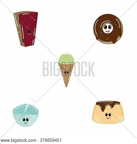 Set Of Desserts Cartoon . Chocolate Pie, Donut, Ice Cream Cone And Flan - Vector