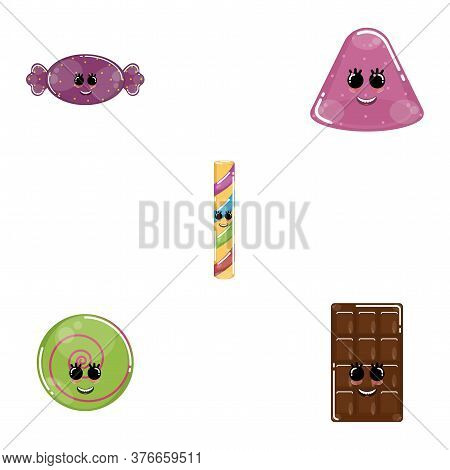 Set Of Candies Cartoons. Cartoons Of A Caramel, Candy Bar, Chocolate Bar, Jelly And Lollipop - Vecto