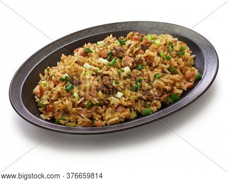classic cajun dirty rice, southern food isolated on white background