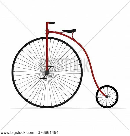 Old Bicycle Isolated On White Background, Retro Penny Farthing Bike. High Wheel Vintage Bicycle, Vec