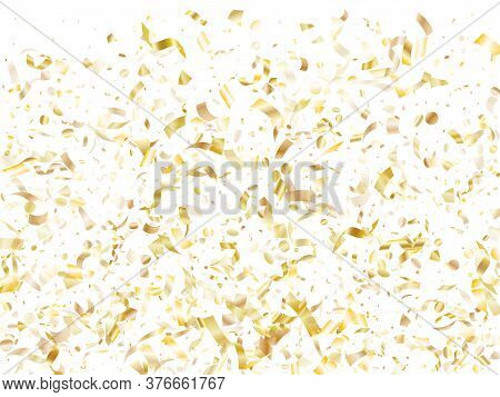 Gold Shiny Realistic Confetti Flying On White Holiday Card Background. Trendy Flying Sparkle Element