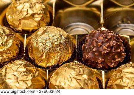 Luxury Chocolate Candies In The Gold Box