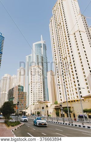 Dubai; Uae - June 6, 2020: Street With Cars At Jumeirah Beach Residence, A Popular Residential Area