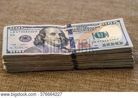 Hundred Dollar Banknotes. Stack Of One Hundred Dollar Bills