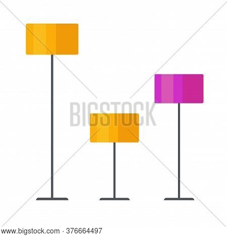 Floor Lamp Isolated Set Or Floorlamp Indoor Table Lighting Home Stand Vector Illustration On Color B