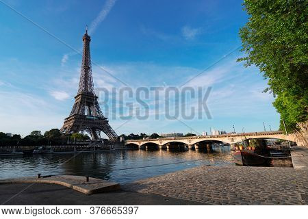 Paris Eiffel Tower Reflecting In River Seine With Bridge Pont Diena In Paris, France. Eiffel Tower I