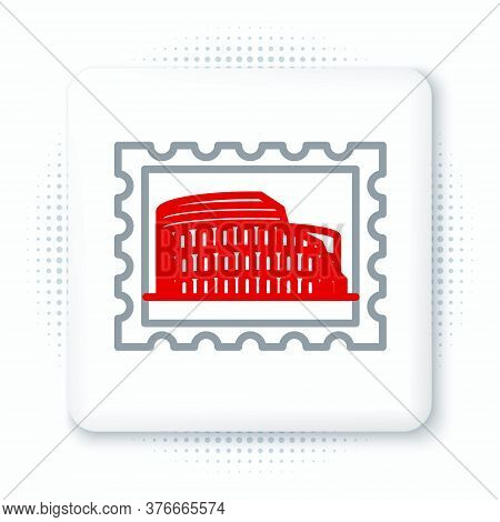 Line Postal Stamp And Coliseum Icon Isolated On White Background. Colosseum Sign. Symbol Of Ancient