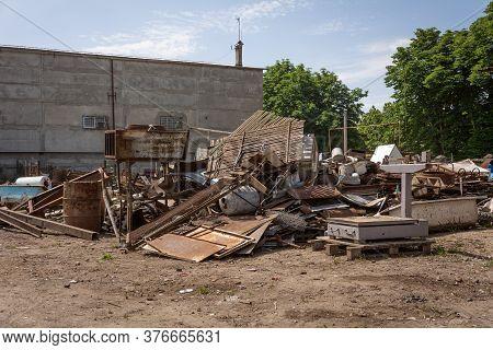 Scrap Base. Scrap Metal At A Metal Recycle Yard