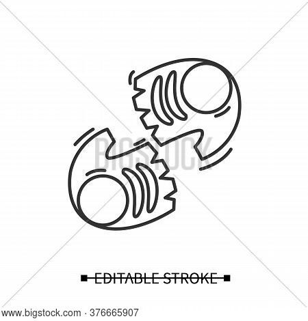 Gym Gloves Icon. Perfect Grip Fitness Gear Linear Pictogram. Concept Of Home Heavy Weight Training,