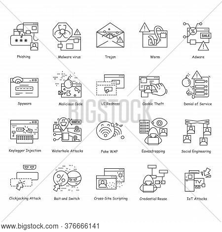 Hackers Icons Set. Safe Web Browsing And Cyber Security Linear Pictogram. Concept Of Personal Data A