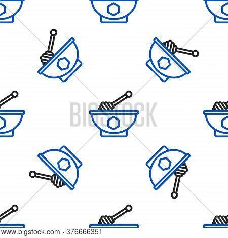 Line Honey Dipper Stick And Bowl Icon Isolated Seamless Pattern On White Background. Honey Ladle. Co