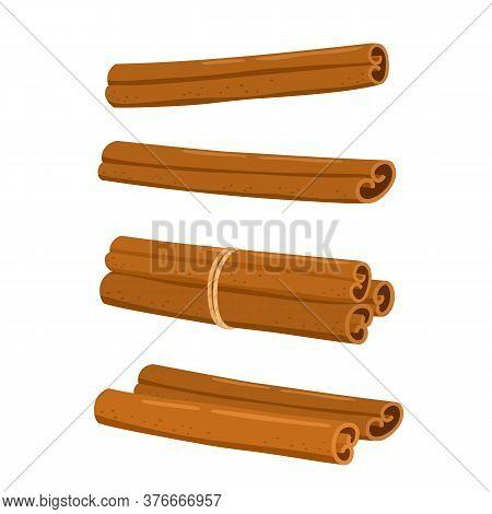 Cinnamon Sticks And Ground Cinnamon Isolated On White Background.