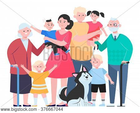 Big Family Concept. Happy Children, Mother, Father, Grandpa, Grandma And Pet Standing Together. Vect