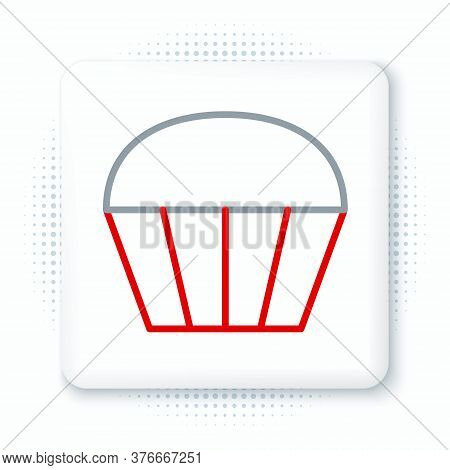 Line Muffin Icon Isolated On White Background. Colorful Outline Concept. Vector