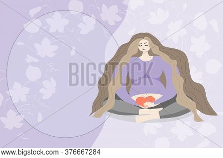 Pregnant Woman With Long Hair Sits In A Lotus Position And Holds A Heart In Her Hands Near The Abdom