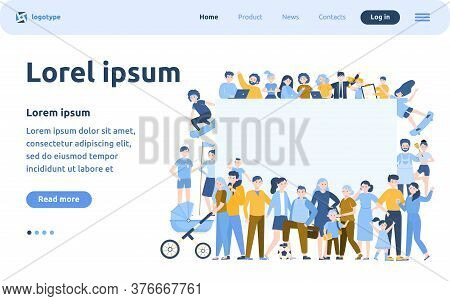 Crowd Of Happy People With Blank Placard Flat Vector Illustration. Cartoon Multicultural Men And Wom