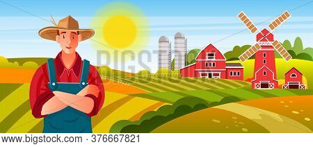 Organic Farm Vector Banner With Young Farmer In Hat And Apron, Mill, Green Hills, Yellow Sun, Barn.