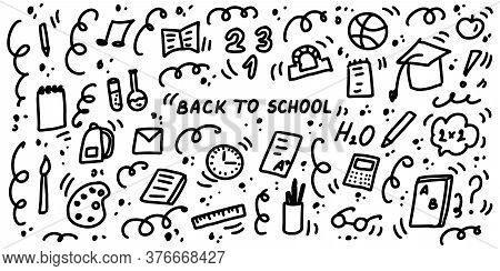 Back To School - Doodles Icon Set. Hand Drawn Lines Supplies, Cartoon Icons Collection. School, Stud