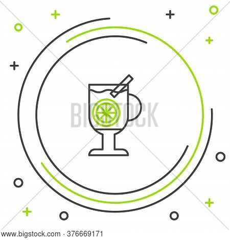 Line Mulled Wine With Glass Of Drink And Ingredients Icon Isolated On White Background. Cinnamon Sti