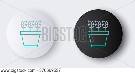 Line Plants In Pot Icon Isolated On Grey Background. Plants Growing In A Pot. Potted Plant Sign. Col
