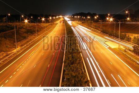 Night Shot Of Expressway