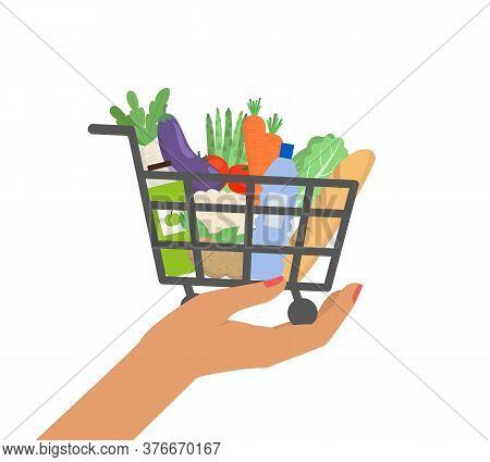 Grocery Shopping Cart, Supermarket Food Basket. Vector Illustration.
