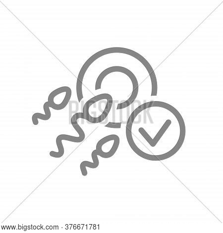 Human Fertilization With Tick Checkmark Line Icon. Healthy Zygote, New Embryo Symbol