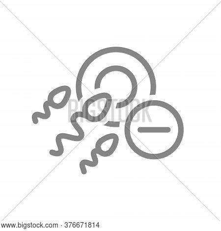Ovum And Spermatozoon With Minus Line Icon. No Fertilization, Abortion Symbol