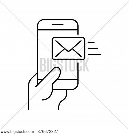 Smartphone In Hand With Received Email On White Background