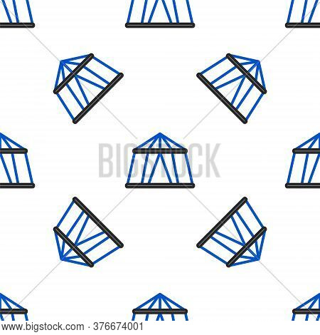 Line Circus Tent Icon Isolated Seamless Pattern On White Background. Carnival Camping Tent. Amusemen