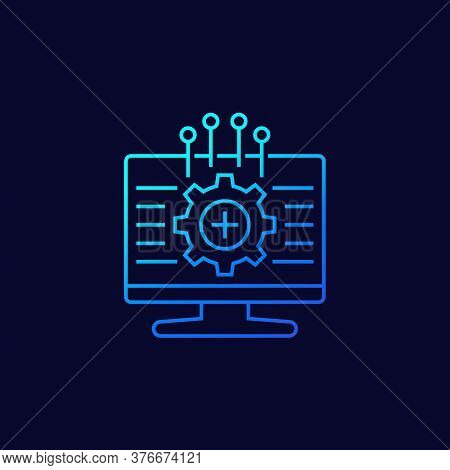 Framework, Vector Line Icon With Gradient, Eps 10 File, Easy To Edit