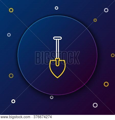 Line Shovel Icon Isolated On Blue Background. Gardening Tool. Tool For Horticulture, Agriculture, Fa