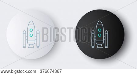 Line Space Shuttle And Rockets Icon Isolated On Grey Background. Colorful Outline Concept. Vector