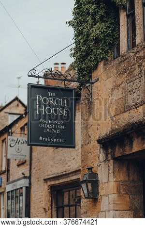 Stow-on-the-wold, Uk - July 6, 2020: Sign Outside The Porch House, The Oldest Inn And Pub In England