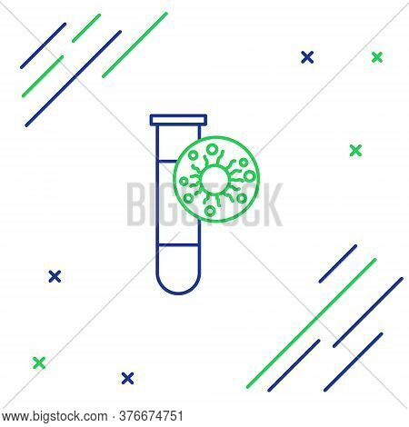 Line Laboratory Glass Test Tube With Virus And Bacteria Icon Isolated On White Background. Analysis