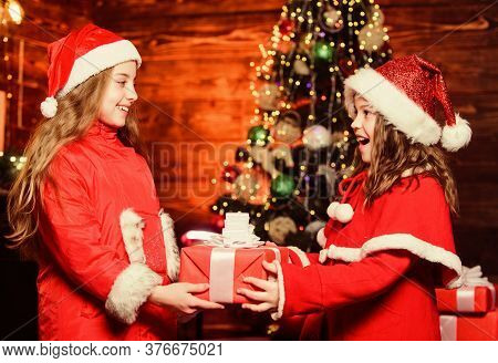 Girl Santa Claus Costume Hold Christmas Gift Box. Prepare Surprise Gift. Open Gift. Happy Moments. K