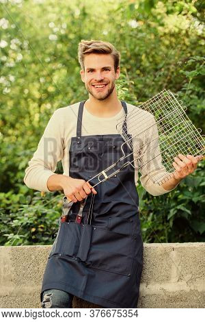 Picnic Concept. Handsome Guy Cooking Food. Healthy Meal. Recipe Grill. Different Methods Grilling. M
