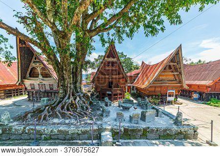 Lake Toba, Indonesia - Circa February, 2019: Batak Traditional Houses In A Row At Ambarita Village,