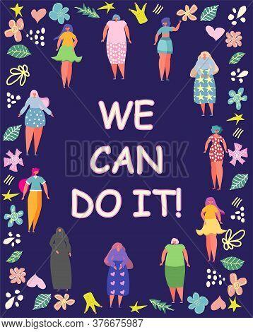 Illustration Graphic Group Of Women, Girls, Power, Strong, Strength Girl Power