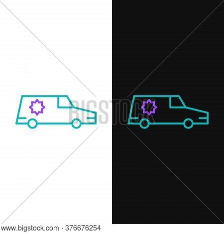 Line Hearse Car Icon Isolated On White And Black Background. Colorful Outline Concept. Vector