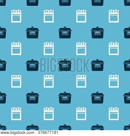 Set Slow Cooker And Oven On Seamless Pattern. Vector